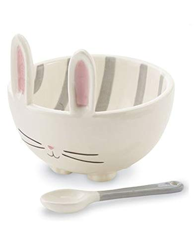 (Bunny Dip Bowl - Candy Bowl With Coordinating Ceramic Spoon - White With Gray)