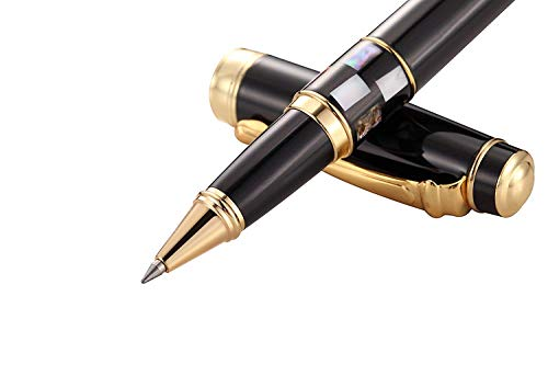 Metal 0.7mm Ballpoint Pen Gold - Black Ink, Smooth Writing, with Genuine Shell Decor, Executive for Business and Professionals, Cool Pen and Classy Gift with Adorable Gift Box and 1 Extra Pen Refill - Genuine Rosewood Ballpoint Pen