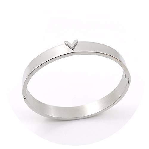 Hotesea Bracelets & Bangles for Women Steel Bangles Gift Silver Color ()