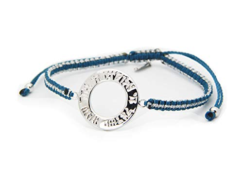 Fronay Collection Sterling Silver Round Shema Israel Disc Adjustable Cord Bracelet, Judaica Jewelry (Blue & Silver) from Fronay Collection
