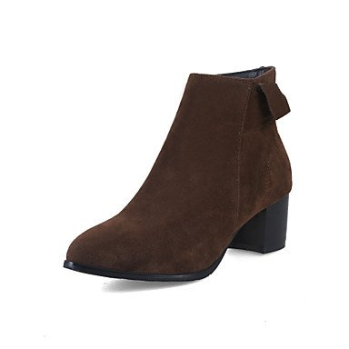 Boots UK3 Leatherette Toe Winter Booties Closed Shoes Bootie Boots Heel Pointed RTRY Fall leather US5 EU35 Chunky Toe Women's Ankle Fashion CN34 Boots Nubuck nB6qvI