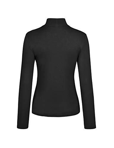 KLOTHO Black Turtleneck Women Shirts Long Sleeve Athletic Casual Tops for Women Medium
