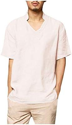 ღLILICATღ Camisa Hombre Cuello Mao Lino Blusa Manga Corta Camisas Top Cuello del Soporte De Color Sólido Blusas Suelta Camisas De Trabajo Suave Cómodo Transpirable: Amazon.es: Deportes y aire libre
