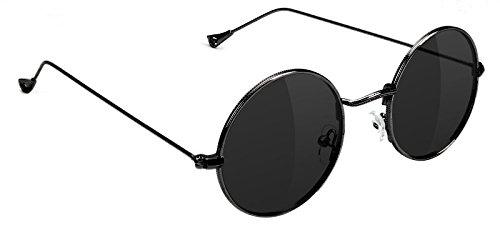 Glassy Mayfair Round Retro Lennon Sunglasses in Black ()