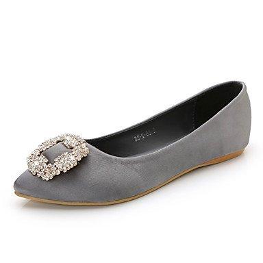 Cómodo y elegante soporte de zapatos de las mujeres pisos comodidad seda de primavera verano otoño Casual negro azul rosa y morado de cristal de soporte de talón gris beige Walking morado