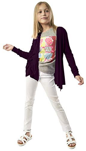 Open Cardigan for Girls - Long Sleeve Back to School Fall Sweater Plum Purple