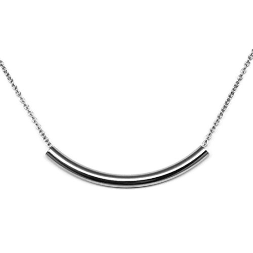 316L Stainless Steel Curved Bar Tube Necklace (18 Inches) (Tube Necklace)