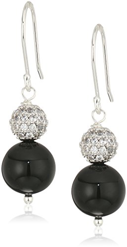 (Snowman Drop Earrings Featuring Sparkling Cubic Zirconia and Black Onyx Beads with Sterling Silver Clip-On Earrings)
