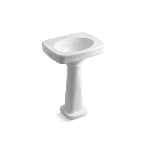 KOHLER K-2338-1-0 Bancroft Pedestal Bathroom Sink with Single-Hole Faucet Drilling, (Bancroft Bathroom Faucet)