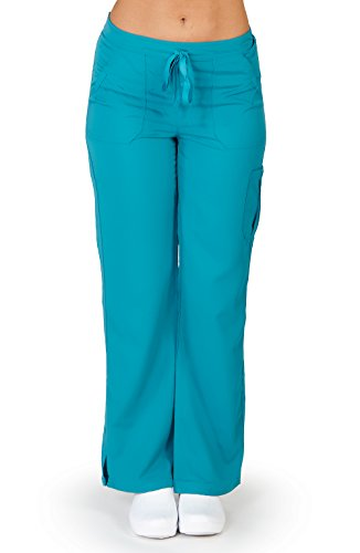 Ultra Soft Brand Scrubs - Premium Womens Junior Fit Cargo Pocket Scrub Pant, Teal 38489-Large
