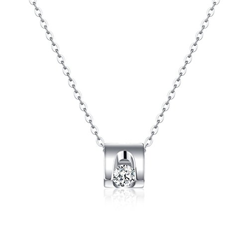 Starchenie 3D Heart Cube Necklace,Hollow Heart Pendant Women Necklace 5A Cubic Zirconia,Gift for Mom,Girlfriend,Sisters,Friends