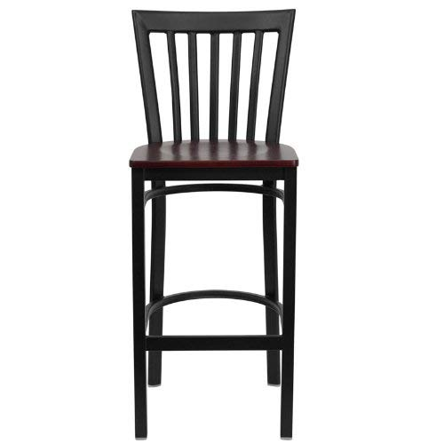 (Flash Furniture HERCULES Series Black School House Back Metal Restaurant Barstool - Mahogany Wood Seat)