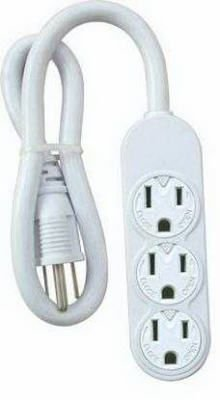 Master Electrician PS-304 3 Outlet Power Strip, White