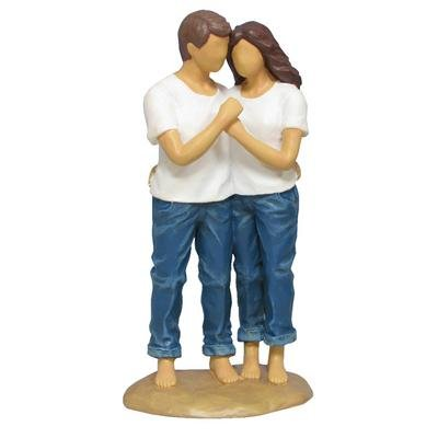 WL SS-WL-18421 Man & Woman Blue Jeans In Sweet Embrace Resin Figurine, 7.25