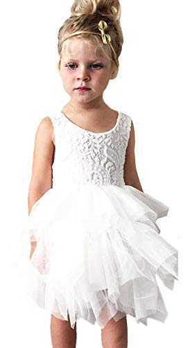 2Bunnies Girl Peony Lace Back A-Line Tiered Tutu Tulle Flower Girl Dress (No Applique White, 12 Months) -