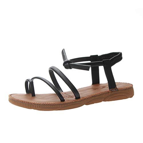 YKARITIANNA Womens Girls Sandals, Women's Flat Sandals Thick-Bottomed Beach Shoes Summer Lace-Up Clip-Toe Sandals Black