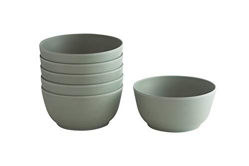 Natura Green- Bamboo Whirl Bowls- Set of 6-24 oz. (700ml) each (Green)