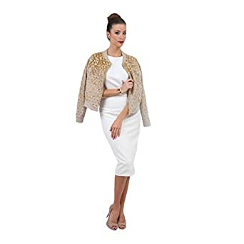 Neon Edge Beige Cotton Basic Jacket For Women