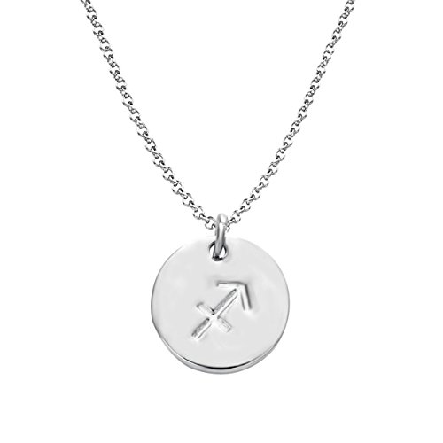 Getlace 925 Sterling Silver Zodiac Sagittarius Necklace Disc Charm Necklace ()