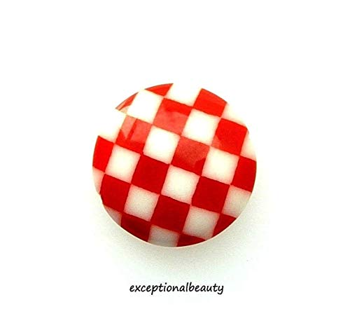 Hand Blown Glass Round Beads - 2 Red White Checkerboard Boho Glass 16x5mm Flat Round Coin Disc Focal Beads