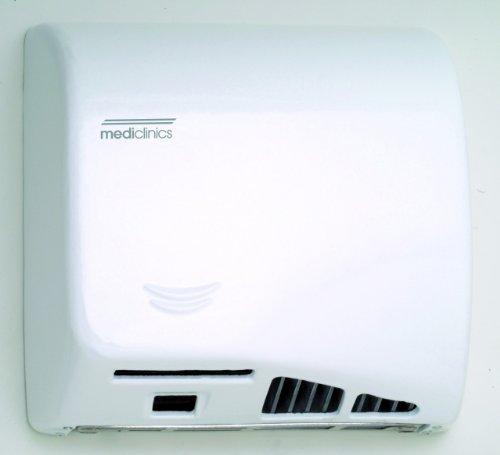 (Saniflow M06A Speedflow Automatic Hand Dryer Steel White Epoxy Finish, 1/3 HP Motor, 4.200 – 8.200 R.P.M., 900 W (450 + 450 W) Heating element, 36-58 CFM Effective airflow, 43-70)