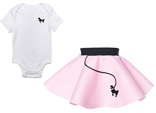 (Hip Hop 50s Shop Infant Poodle Skirt 2 Piece Costume Set, Light Pink (12)