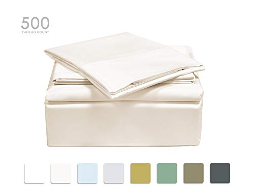 TRANQUIL NIGHTS Full Size Ivory 100% Cotton Sheet Set, 500 Thread Count, 4-Piece Set, Long Staple Combed Cotton, Sateen Weave, Classic Z Hem,Cool&Crisp, Fits Mattress Upto 17