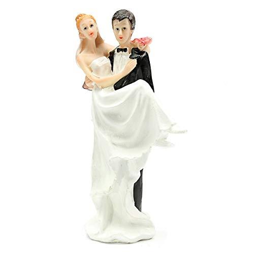 Statues & Sculptures - Funny Romantic Wedding Cake Per Figure Bride Groom Couple The Bridegroom Hold - Bride Topper Topper Party Statues Cake Tape Toy Bride Heart Gift Figurine Funny Figurine Scu -