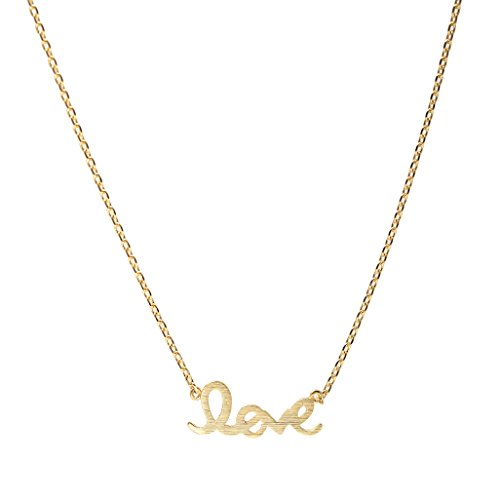 Spinningdaisy Handcrafted Brushed Metal Love Script Necklace