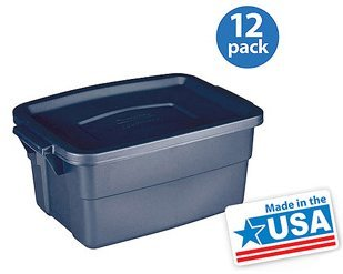 set of 12 lidded storage boxs 3gallon heavy dutyblue large storage