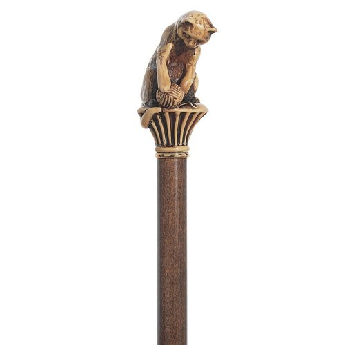 Kitty cat walking cane for the cat lover. Solid resin cat playing with yarn on hardwood shaft. Perfect gift for the cat lover (Playing Stick Figure)