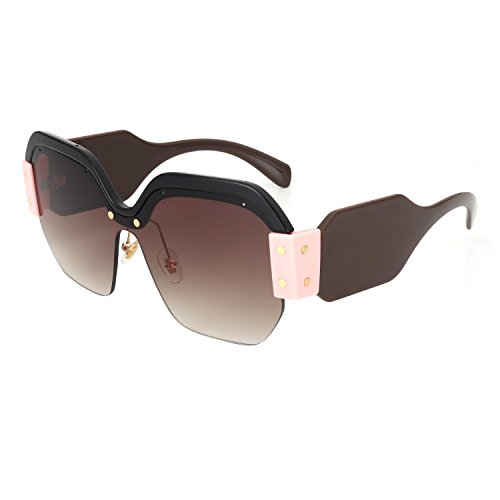 ROYAL GIRL Semi Rimless Sunglasses For Women Trendy Candy Color Designer Glasses (Brown, - Sunglasses New Fashion