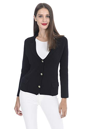 (State Cashmere Women's 100% Cashmere Button-up Cardigan with Pockets Black)