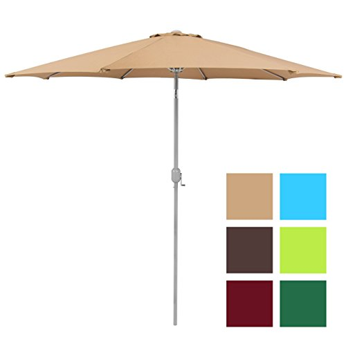 Best Choice Products Patio Umbrella 9ft Aluminum Outdoor Patio Market Umbrella w/Crank Tilt - Beige (9' Outdoor Square Patio Market)
