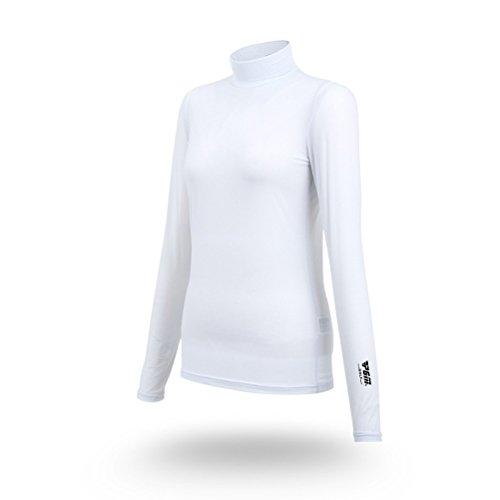 Goodgoods UVカット インナー シャツ レディース Tシャツ ゴルフウェア ポロシャツ ゴルフ 女性用 アウトドア 長袖 薄手 021-xsty-yf001(M ホワイト)