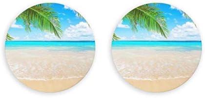 Abrebotellas redondas con tema de planta de playa tropical / Imanes de nevera Sacacorchos de acero inoxidable Etiqueta magnética 2 piezas