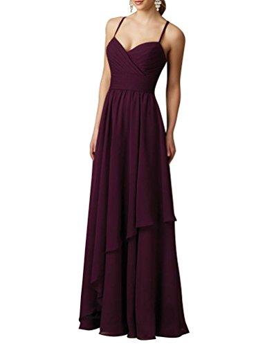 WeiYin Women's Sexy Back Chiffon Long Ruched Evening Dress Maxi Dresses