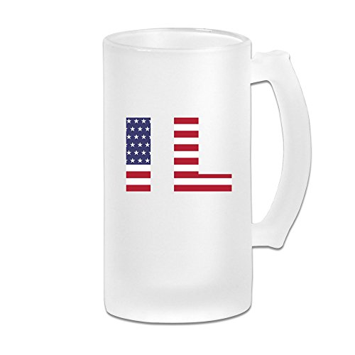 Il State Of Illinois Flag 16OZ Frosted Glass Beer Mug Novelty Glass Beer Mug White