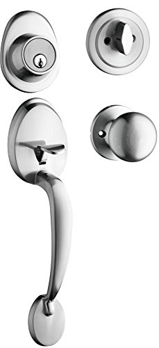 Front Finish (Berlin Modisch Single Cylinder HandleSet with Knob Door Handle (for entrance and front door) Reversible for right and left handed and a single cylinder deadbolt Handle Set Satin Nickel Finish)