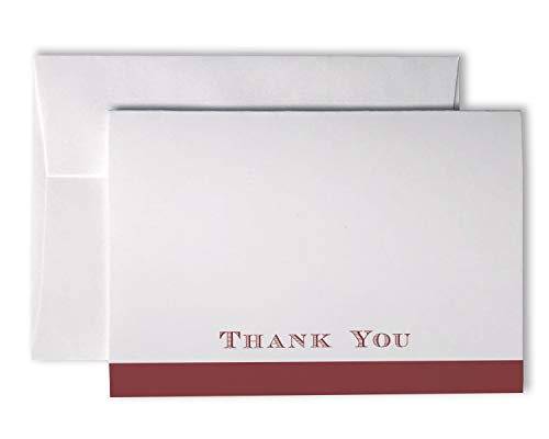 Formal Bold Striped Thank You Cards - 48 Cards & Envelopes (Red)