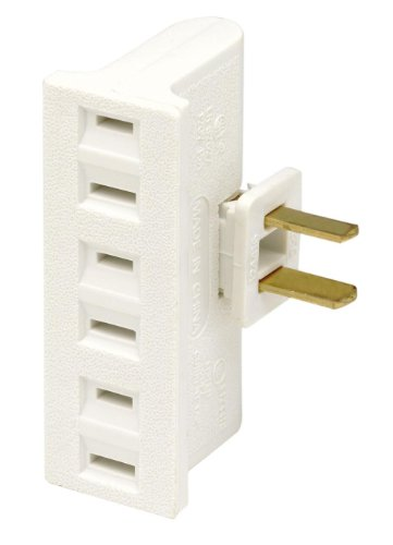 Leviton 69-W-15 Amp, 125 Volt, Triple Outlet Swivel Adapter, White