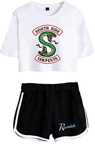 Blanco Pantalones Cortos De Logo Batalla negro Chándales Camisa Verano d Y Con Oliphee Mujer Riverdale Para nqR1pO8fxw