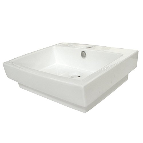 Kingston Brass Plaza White China Vessel Bathroom Sink with Overflow Hole & Faucet Hole - White , Bathroom plumbing fixtures & sinks]()