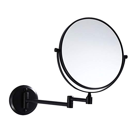 Mirror Folding Makeup, Wall-Mounted Magnifying Makeup, Matte Black Double-Sided HD 360° Rotating Retractable Bathroom ()
