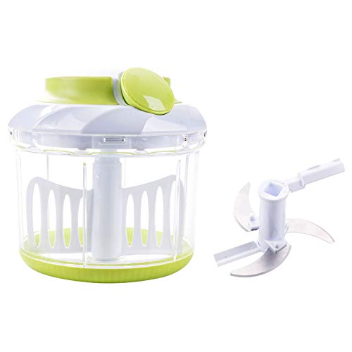 (Smile mom Pull Food Chopper with Mincer Chopper Blades&Plastic Mixer Blender to Chop Vegetable Fruit Meat Nut Onion Carrot Cucumber Potato Egg for Salad-4 Cup Food Processor)