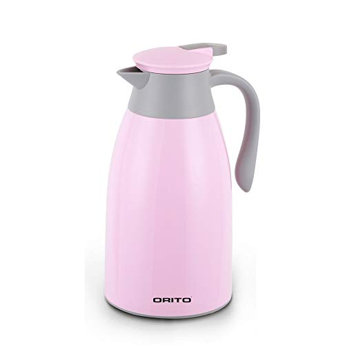 ORITO Thermal Carafe Double Wall Vacuum Insulated Coffee Carafe Thermos Pot Hot Tea and Water Dispenser ... (1.0 Liter, Pink)