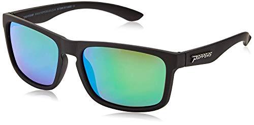 Peppers Sunset Blvd Sunglasses Rubberized Matte Black/Brown Polarized w/Emerald Green ()