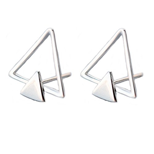 Helen de Lete Original Minimalist Double Triangle Sterling Silver Stud Earrings