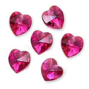 Swarovski Crystal, #6228 Heart Pendants 10mm, 6 Pieces, Fuchsia AB (Ab Swarovski Crystal Heart Pendant)