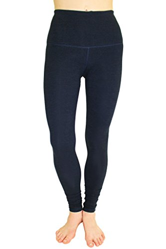 90 Degree By Reflex - High Waist Cotton Power Flex Leggings - Tummy Control - Heather Slate Grey M